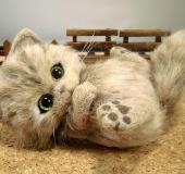 羊毛フェルト 茶 猫