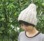 ジャンボ編み 1目ゴム編みのニット帽