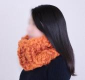 ジャンボ編み・モフモで編む 1目ゴム編みのカウル