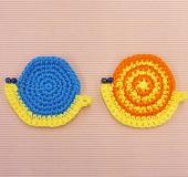 かぎ針「アミュレ」で編むかたつむりコースター