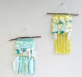 クロバーミニ織りで織るふわふわタペストリー
