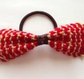 「クローバー ミニ織り機」で千鳥格子柄リボンのヘアゴム