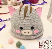 ダブルフックアフガン針で編む 【干支・亥】うり坊なりきり帽
