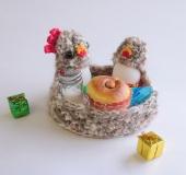 クロバーかぎ針を使ってよろい編みで編む エッグスタンド〈大〉