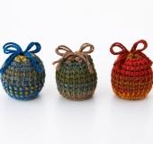 ダブルフックアフガン針とジャンボガーデンで編む巾着