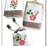ミツバチと花の刺しゅうきんちゃく袋