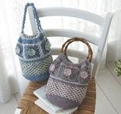 ネット編みフラワーバッグ