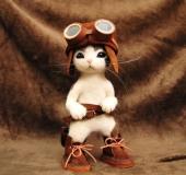 羊毛フェルト 猫 フライトキャップとゴーグル