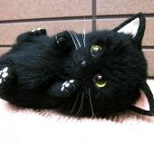 ●羊毛フェルト 猫 黒猫 ねこ ぼうじ ハンドメイド●