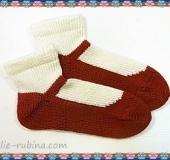 【リリアンニッターラウンドタイプで編む】 赤い靴のくつした