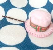 被る髪留め 帽子型