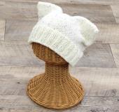 モイモイで編む ねこ耳帽(大人)