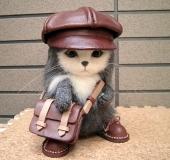 ●キャスケット 猫 (羊毛フェルト、レザークラフト)●