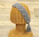 コトネで編む 長編みと細編みのタッセル付きヘアバンド