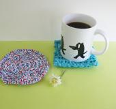 ジャンボかぎ針「アミュレ」で編む 裂き編みコースター