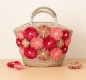 花あみルームで作るデコかご ラフィアの花モチーフバッグ・丸