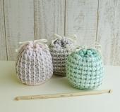 ダブルフックアフガン針で編む巾着