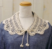かぎ針で編む ネット編みのつけ襟