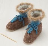 ダブルフックアフガン編みのルームシューズ