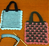 ダブルフックアフガン針で編む 平編みのぺたんこバッグ[玉編み]