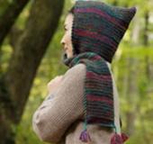 ダブルフックアフガン針で編む ずきん風のショール