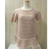 ダブルフックアフガン針で編む ネックから編むチュニックセーター