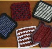 ダブルフックアフガン針で編む 平編みのミニマット