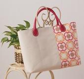 バッグテンプレートで作る帆布と花柄のトートバッグ