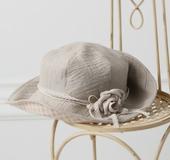 クイック帽子テンプレートで作る リネンとギンガムのキャプリン