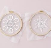 ビーズクチュールのための図案集「雪の結晶」とミニクッション[図案]