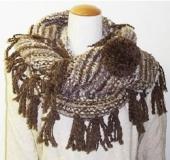 輪針「匠」メビウス針で編む フリンジ付きスヌード