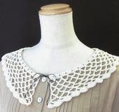 1玉でできる かぎ針編みのつけ襟
