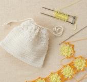 ヘアピンレース「ミニ」で編む 花モチーフレースの巾着