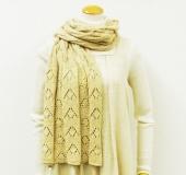 シャンパーニュで編む リバーシブル透かし編みショール